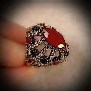 Sz 10 RUBY EMERALD ART RING Solid 925 Silver/Gold